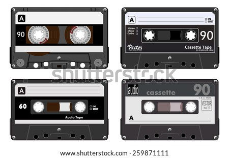 Collection of four plastic audio cassettes tape. Different colorful music tapes. Black set. old technology, realistic retro design, vector art image illustration, isolated on white background eps10  - stock vector