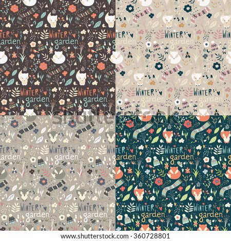 Collection of four seamless patterns with winter garden flowers, foxes and scarf, hat and mittens, vector illustration - stock vector