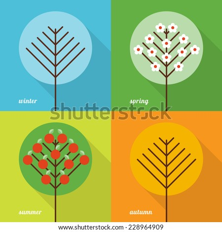Collection of four seasons icons in flat style - stock vector