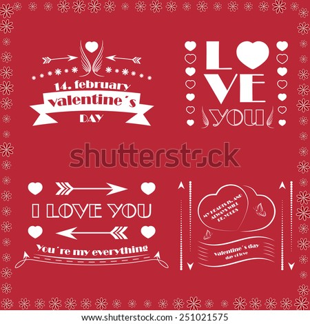 Collection of four Valentine's day decorative wishes, hearts, angel wings and ornate elements - stock vector