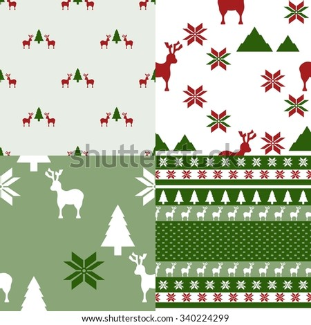 collection of four winter themed repeating pattern in green and red colors