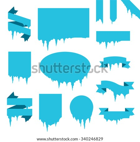 Collection of frozen icicle snow winter vector banner. Icicle vector snow banners, snow ribbon, snow label, icicle emblem. Winter New Year sale, Christmas sale banners. Vector banners isolated icon - stock vector