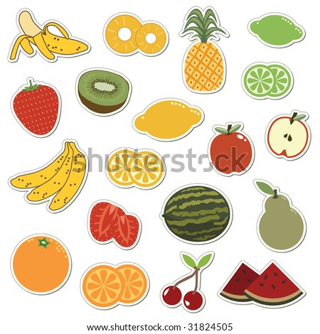 collection of fruit stickers isolated on white