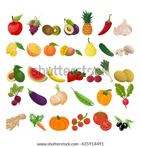 Collection of fruits and vegetables - stock vector