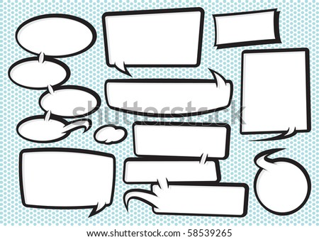 collection of fully editable funky cartoon style speech bubbles. Manipulate these bubbles to whatever shape and size you need. - stock vector