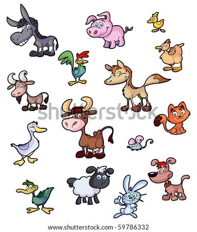 collection of fun cartoon farm animals - stock vector
