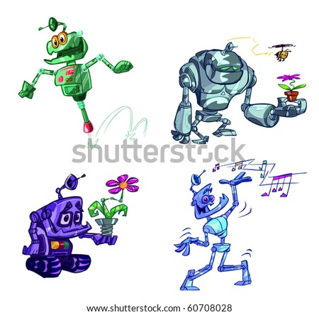 collection of fun robots - stock vector