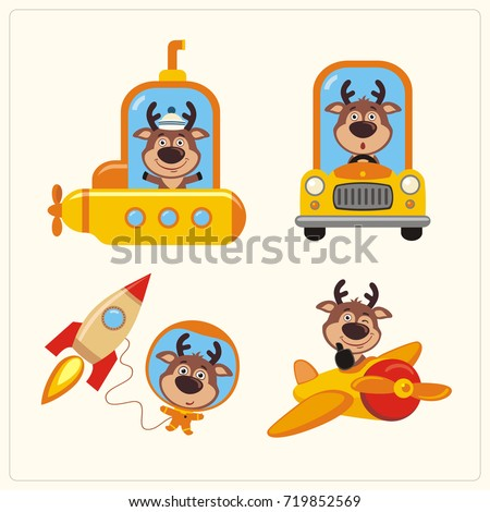 Collection of funny deer in transport in cartoon style. Set of isolated deer in various transport: airplane, submarine, car, space rocket.