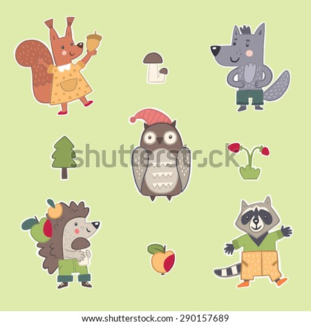 Collection of funny forest animals: owl, wolf, hedgehog, squirrel, raccoon - stock vector