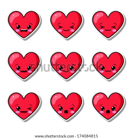 Collection of funny hearts - stock vector