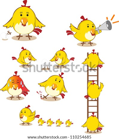 collection of funny that a bunch of happy chickens - stock vector