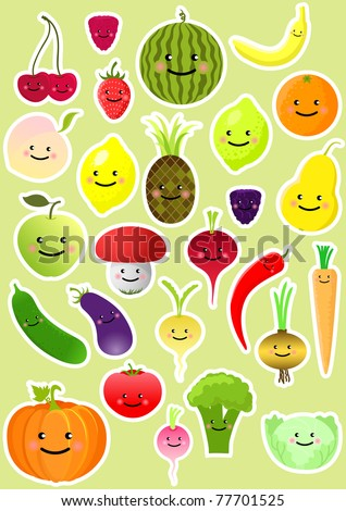 Collection of funny vegetables and fruit. Vector illustration - stock vector