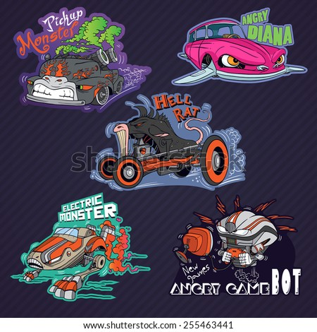 Collection of funny vehicle caricatures with human like face expressions, hand drawn vector characters - stock vector