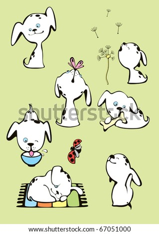 Collection of funny white spotted dogs puppies - stock vector