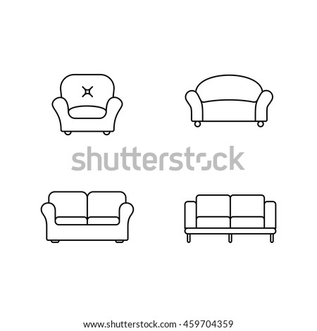 Collection of furniture icons. Icons for website of furniture retailer. Linear style - stock vector