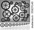 Collection of gears totally compatible each other. All teeth are the same size of gear. - stock