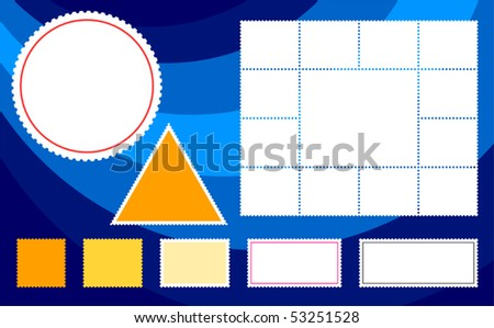 Collection of generic postage stamps of various shapes on blue - stock vector
