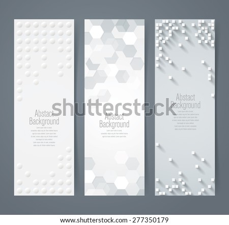 Collection of geometric background banner. Can be used in website, magazine or advertising. White and gray background. - stock vector