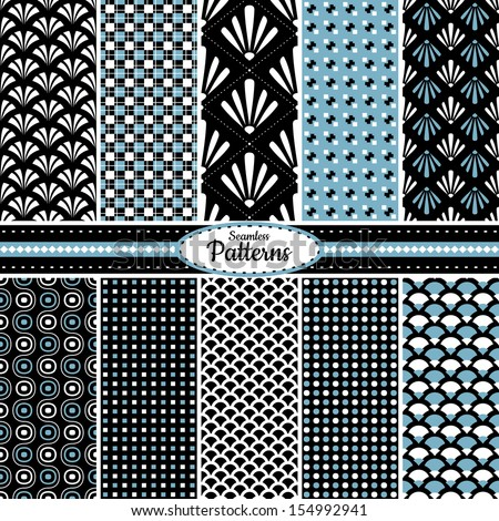 Collection of 10 geometric colorful seamless pattern background. Great for web page backgrounds, wallpapers, interiors, home decor, apparel, etc.Vector file includes pattern swatch for each pattern. - stock vector
