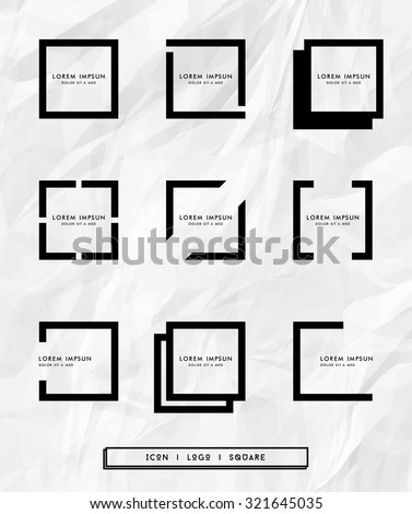 Collection of geometric frames logo and place for tex.Template for design logos,brand,company,cover,card,invitation,background,pattern.Trendy Hipster,Contemporary icons and logotypes.Vector.Isolated - stock vector