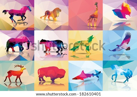 Collection of geometric polygon animals, horse, lion, giraffe, butterfly, elephant, leopard, wolf, eagle, deer, buffalo, shark, vector illustration - stock vector