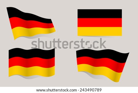 Collection of German flags moving in the wind in vector
