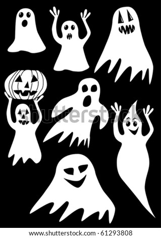 collection of ghosts on a black background. Vector illustration