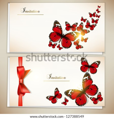 Collection of gift cards and invitations with ribbons and butterfly. Vector background - stock vector