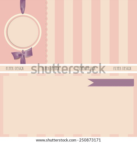 Collection of gift cards and invitations with ribbons. Vector - stock vector