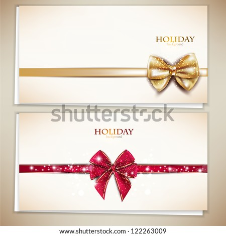 Collection of gift cards and invitations with ribbons. Vector background - stock vector