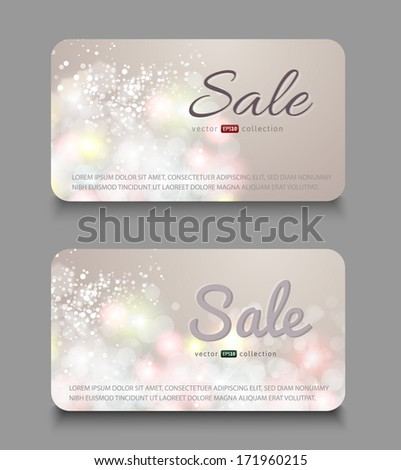 Collection of gift cards. Cards for sale. Vector background. Sale banners - stock vector