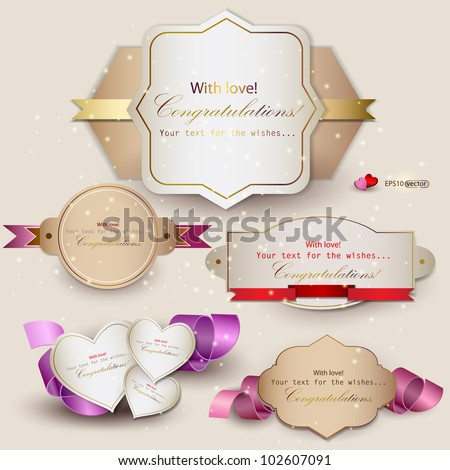 Collection of gift cards with ribbons. Vector background - stock vector