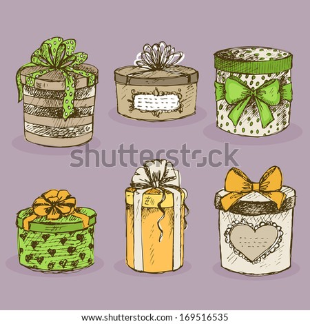 Collection of gift present boxes with bows, ribbon, hearts and labels vector illustration - stock vector