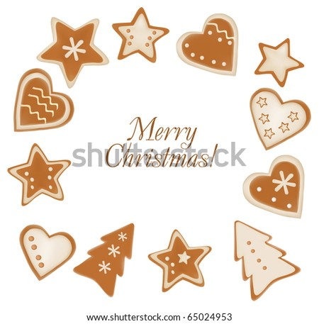 Collection of gingerbread christmas cookies. Vector.
