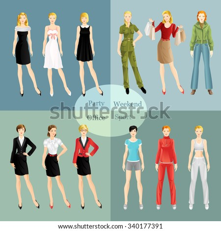 Collection of girl in different clothes. Woman in sport wear. Girl in little black dress. Women in glasses. Girl in formal suit. Blond woman in red blouse buy presents. Girl in bomber jacket and jeans - stock vector