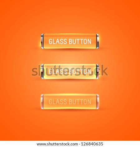 Collection of glass buttons in different states - stock vector