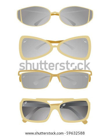 Collection of glasses with a gold frame. Vector - stock vector