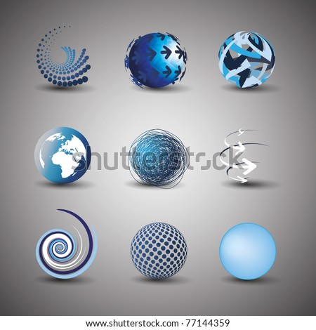 Collection Of Globe Designs - stock vector