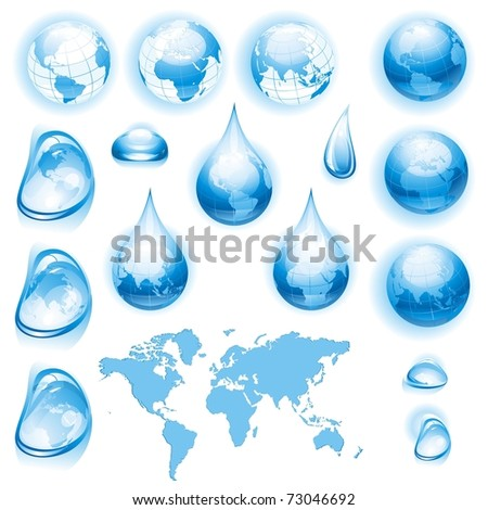 Collection of globes. Drops and map. Vector illustration. - stock vector