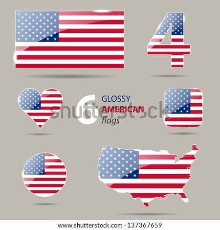Collection of glossy american flags in different shapes in vector - stock vector