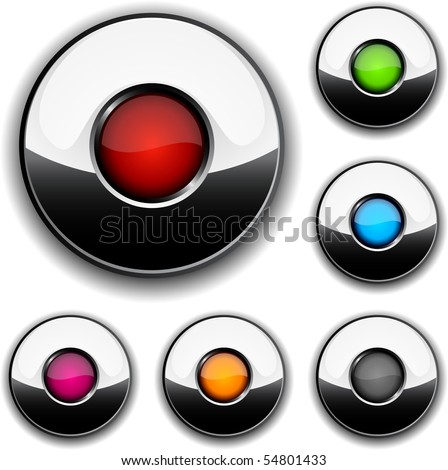 Collection of glossy buttons. Vector illustration. - stock vector
