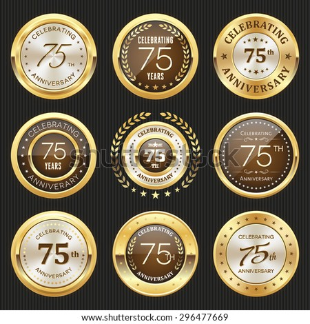 Collection of glossy gold 75th anniversary badge - stock vector