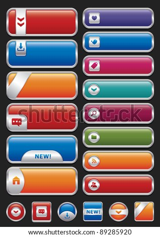 Collection of glossy metal buttons with icons. - stock vector