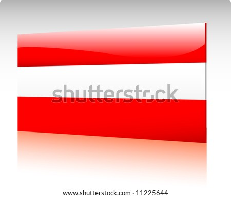 Collection of glossy vectro country flags - Austria - stock vector