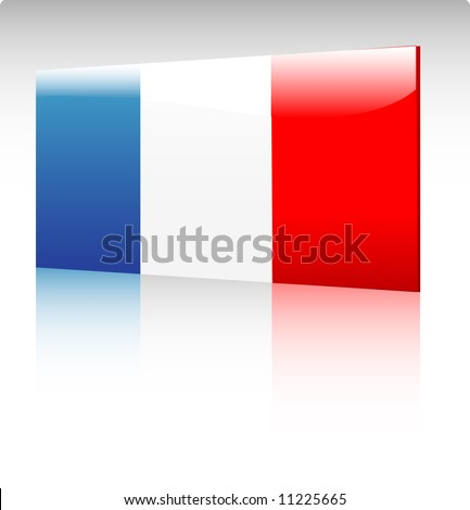 Collection of glossy vectro country flags - France - stock vector