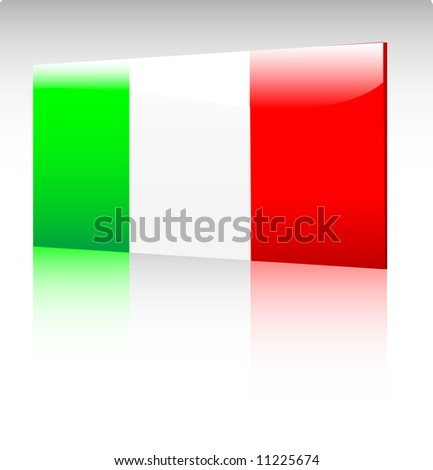 Collection of glossy vectro country flags - Italy - stock vector