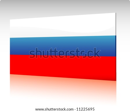 Collection of glossy vectro country flags - Russia (Russian Federation) - stock vector