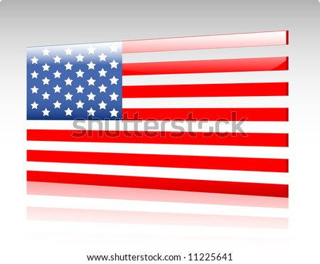 Collection of glossy vectro country flags - The United States of America - stock vector