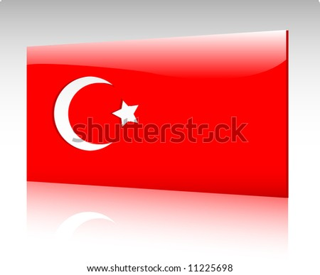 Collection of glossy vectro country flags - Turkey - stock vector