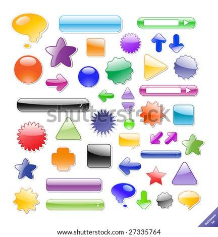 Collection of glossy web elements. Perfect for adding text or icons. Shadows created with blends. - stock vector